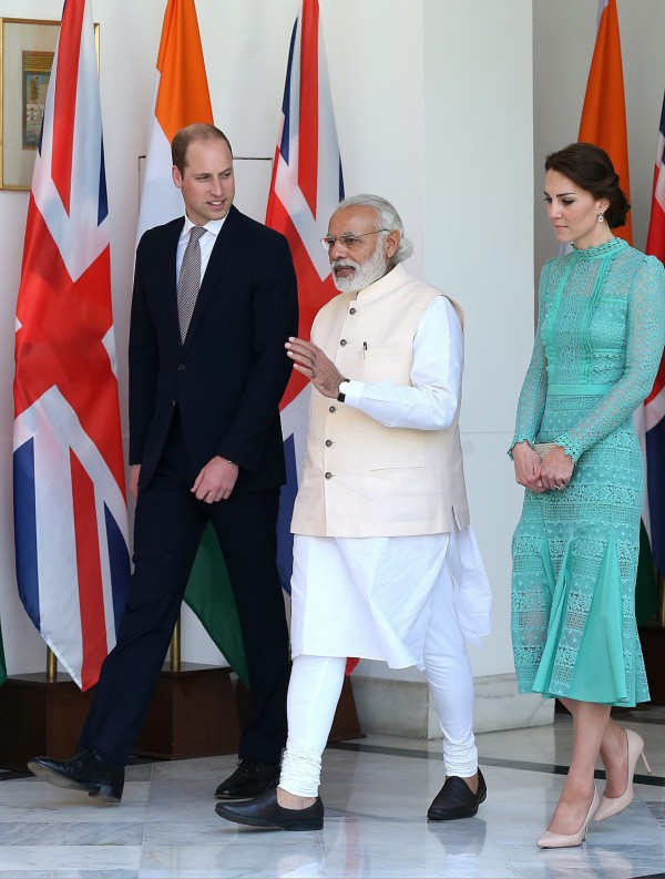 印度總理莫迪設宴款待威廉王子與凱特王妃。(歐新社)