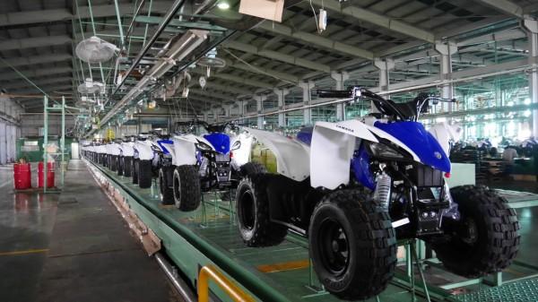 圖為宏佳騰與日本YAMAHA(山葉)共同開發的兒童用沙灘車YFZ50正式下線生產,將進軍歐美及澳洲等外銷市場。(資料照)