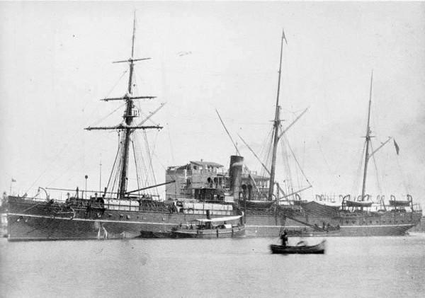 清末英國籍蒸汽商船布哈拉號,1892年在姑婆嶼附近遭遇颱風沉沒。(翻攝自中研院「研之有物」)