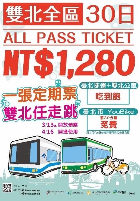 由雙北市政府推出的大眾運輸1280元「吃到飽」月票,今天正式上路。(圖由交通局提供)