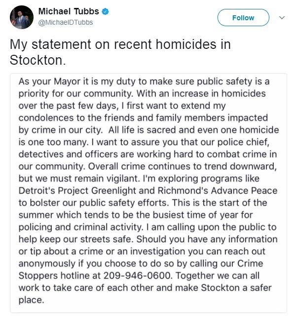 史塔克頓市長為減少發生兇殺案件發生,考慮「付錢」給不殺人鬧事的罪犯們。(圖擷自推特)