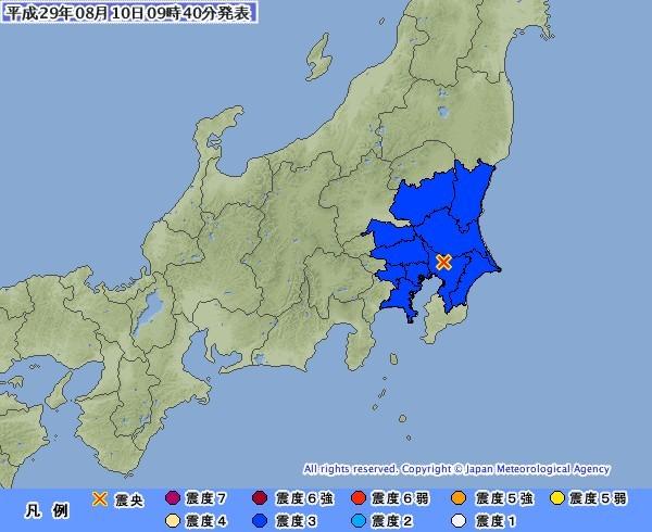今早本州關東地區傳出芮氏規模4.9地震,東京有明顯感受。(圖擷自日本氣象廳)