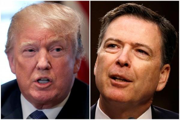 美國聯邦調查局前局長柯米(右)的回憶錄將在17日上市,大爆美國總統川普(左)的內幕。(路透)
