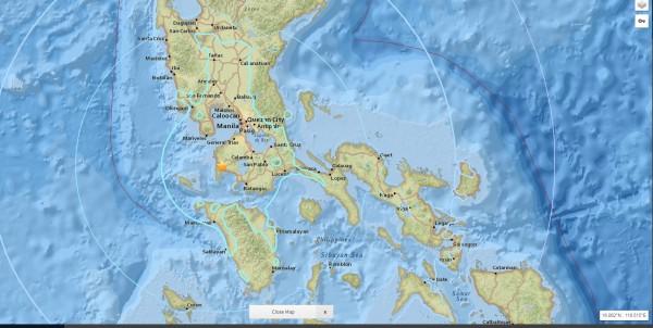 菲律賓呂宋島今天下午1時28分,發生規模6.2地震。(圖擷取自美國地質調查所)