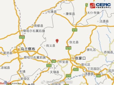 河北省張家口市張北縣發生規模3.2地震,詳細震央為東經114.38°,北緯41.16°。(圖擷取自中國地震台網微博)