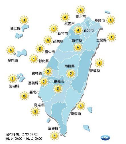 明日紫外線預報。(圖取自中央氣象局)
