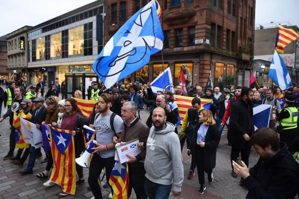 蘇格蘭民族黨強調將會和加泰隆尼亞人民站在一起。(法新社)