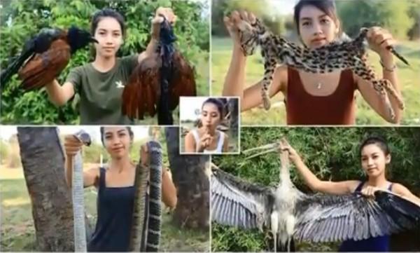 塔奇和丈夫拉提日前拍攝野外求生片,竟吃下多種保育動物。(圖擷自《Take Care English》Youtube)