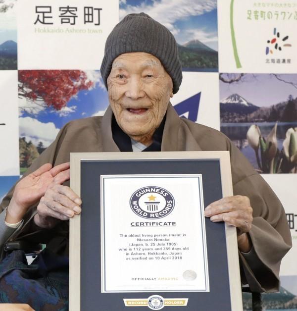 今年112歲的野中正造現今居住在北海道足寄町,出生於1905年(明治38年,民國前6年)的7月25日。(美聯社)
