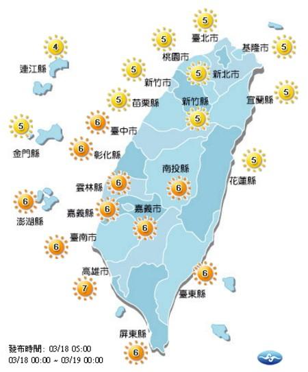 今日各地紫外線多為中至高量級。(取自氣象局網站)