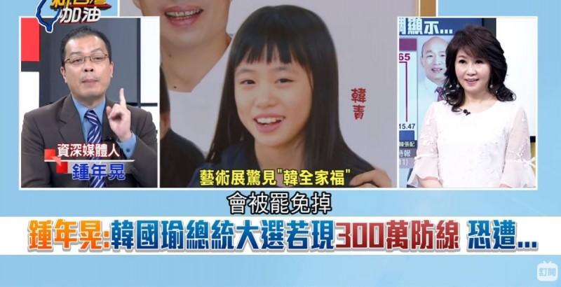 鍾年晃說:「如果韓國瑜輸超過300萬票,我認為他高雄市長會被罷免掉,因為到時候可能連國民黨人都不會挺他了」。(圖取自三立新聞台)