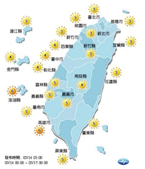 今日各地紫外線多為中量級。(取自氣象局網站