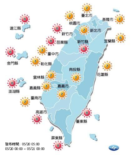 今天各地紫外線為高量至過量級。(取自氣象局網站)