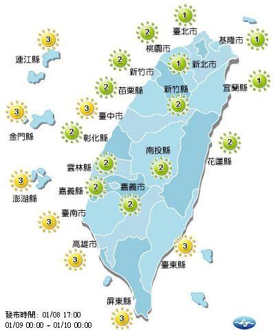 明日紫外線概況。(圖擷自中央氣象局)