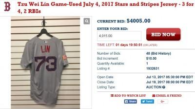 MLB》林子偉棒打達比修的球衣 已喊破台幣12萬