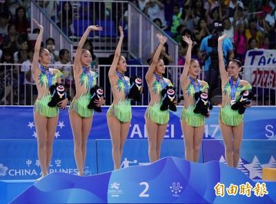 世大運》韻律體操團隊全能 台灣隊摘銀