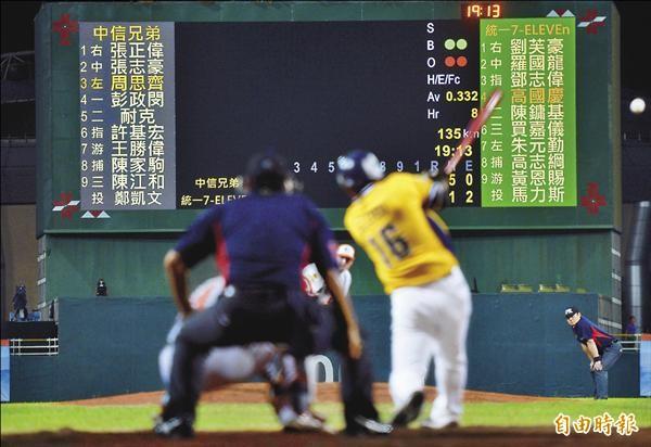 花蓮球場有全台唯一全屏螢幕,反而干擾視線,造成打者與捕手困擾。(記者林正堃攝)