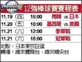 12強棒球賽賽程表