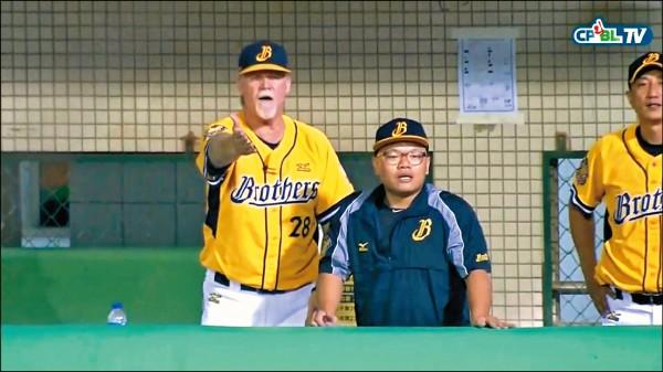 兄弟投手江忠城暴投後沒補位,總教練史耐德(左)第一時間的反應也引起討論。(取自網路)