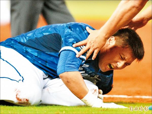 林哲瑄前晚跑壘受傷,所幸沒有結構性傷害,預計休養2週。 (資料照,記者張忠義攝)