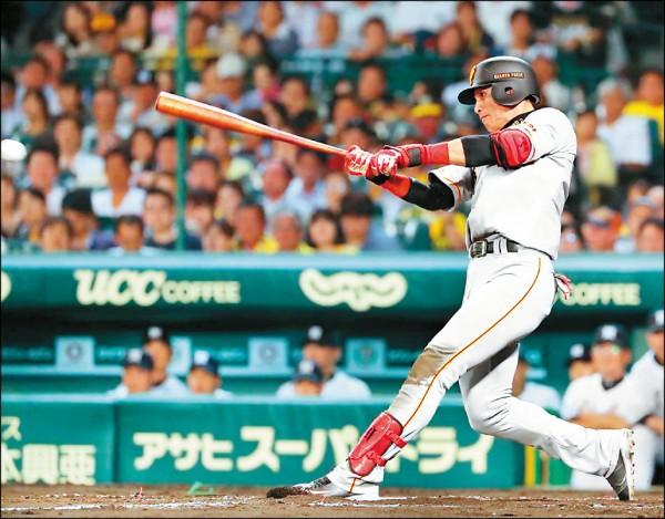 巨人陽岱鋼昨對阪神繳出5支5的猛打表現,一掃前天對戰5支0的低潮。(取自讀賣巨人推特)