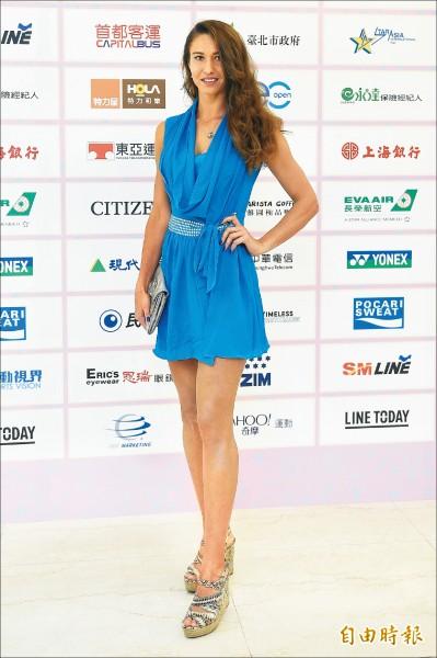 海碩盃的「選手之夜」,來自俄羅斯的蒂雅琴科,獲得「最佳服裝獎」。(記者陳志曲攝)