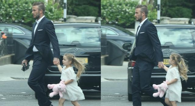 貝克漢夫婦出席家長會成焦點!小七粉紅熊玩偶不離身