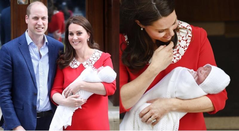紅色洋裝襯出產後好氣色!威廉王子、凱特王妃帶著新小王子露面了!