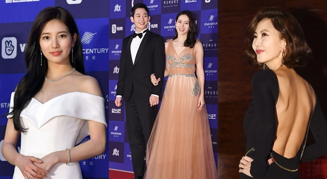 南韓奧斯卡紅毯女星比心機!Nana靠「深V開衩」禮服力拚漂亮姐姐孫藝珍!