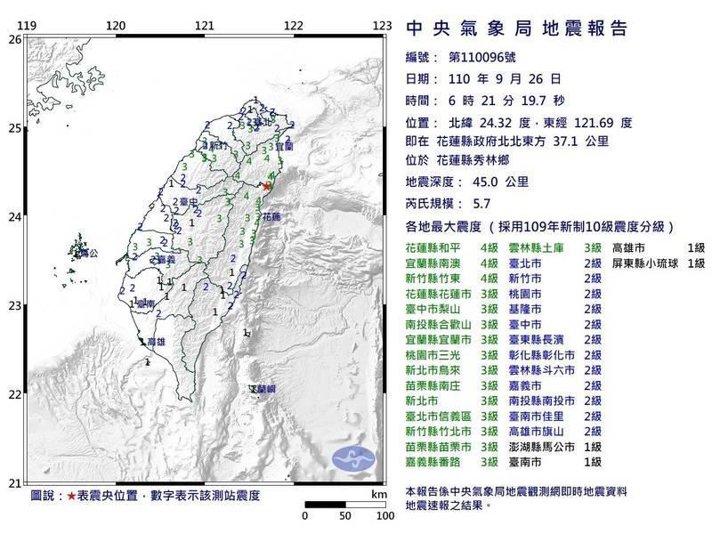 花蓮清晨規模5.7地震全台有感!手機沒收到國家級警報跟這原因有關