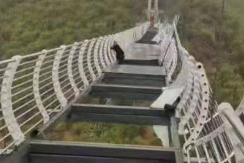 嚇死!玻璃吊橋被風吹破 遊客高空腿軟