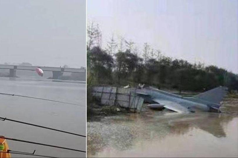 中國殲-10S墜毀機首斷裂 飛行員急跳傘