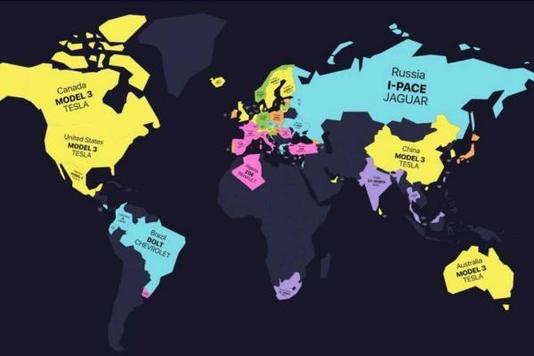 2020 全球電動車銷售地圖公布,Tesla Model 3 稱霸 21 個國家!