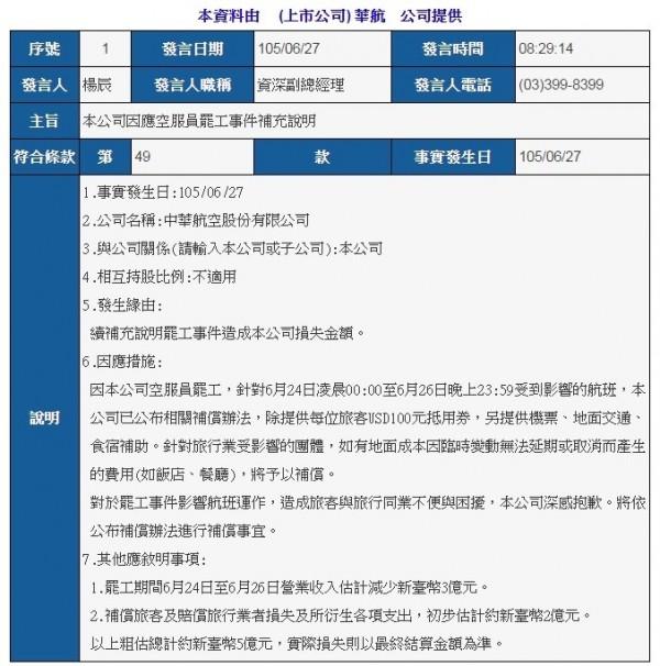 華航重大訊息公告:罷工損失約5億元