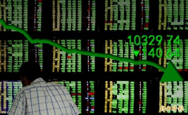 台股收盤大跌140.64點 報10329.74點