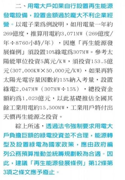 工總白皮書打臉王文淵「綠電貴」說  自證其實超便宜