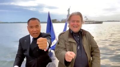 外媒看傻!郭文貴、班農在哈德遜河上宣佈成立新中國聯邦