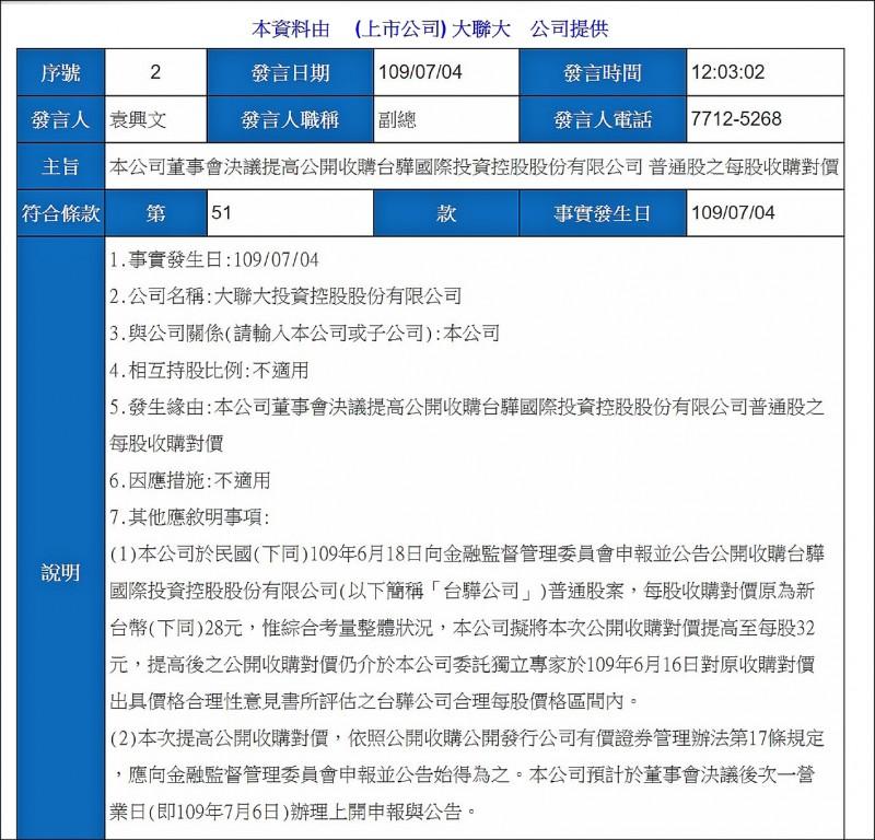 台驊大漲 大聯大公開收購價提高到32元