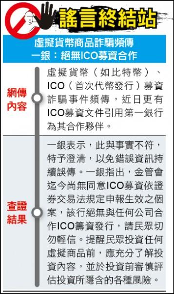 謠言終結站》虛擬貨幣商品詐騙頻傳 一銀:絕無ICO募資合作