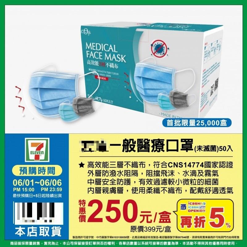 7-ELEVEN醫療口罩6/1開放預購 最低1片只要4.74元