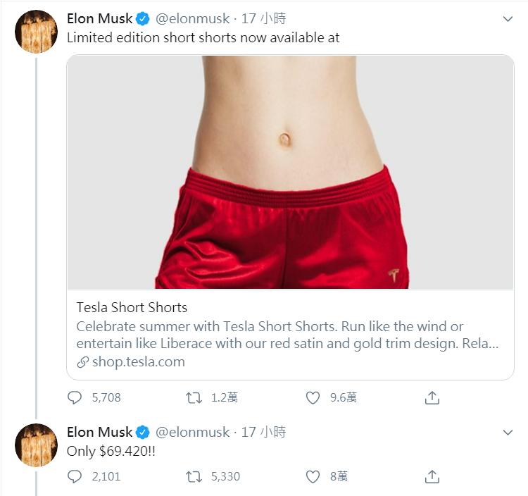 嘲諷特斯拉看衰者  馬斯克推「放空短褲」(Short Shorts)