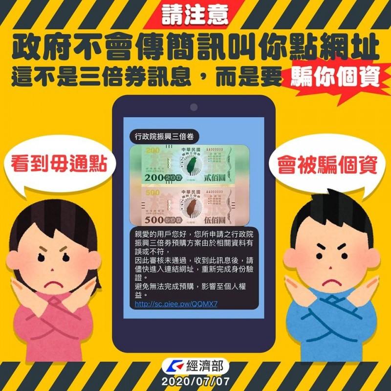三倍券預購簡訊要求點網址、輸個資?  經濟部:詐騙簡訊!