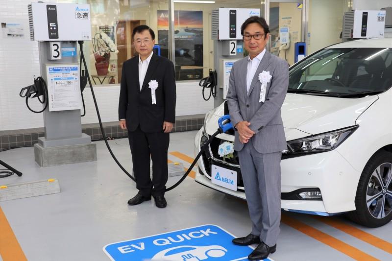 台達電日本橫濱設電動車充電站 支援緊急救災