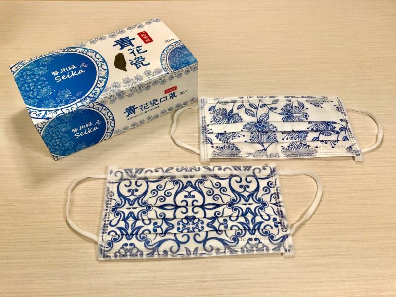 青花瓷花紋醫療口罩 全台首賣在愛買