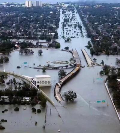 颶風橫掃休士頓 辣媽主播目賭「離世界末日好近」