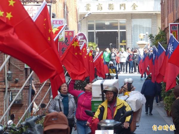 金門老街掛上五星旗 黃安高潮直呼:離統一更近了