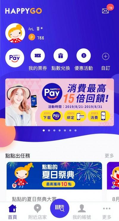 HAPPY GO Pay上線 限時下載點數放大15倍