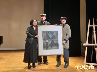 魏樂富、葉綠娜為人權演奏 畫家陳景容感動致贈作品
