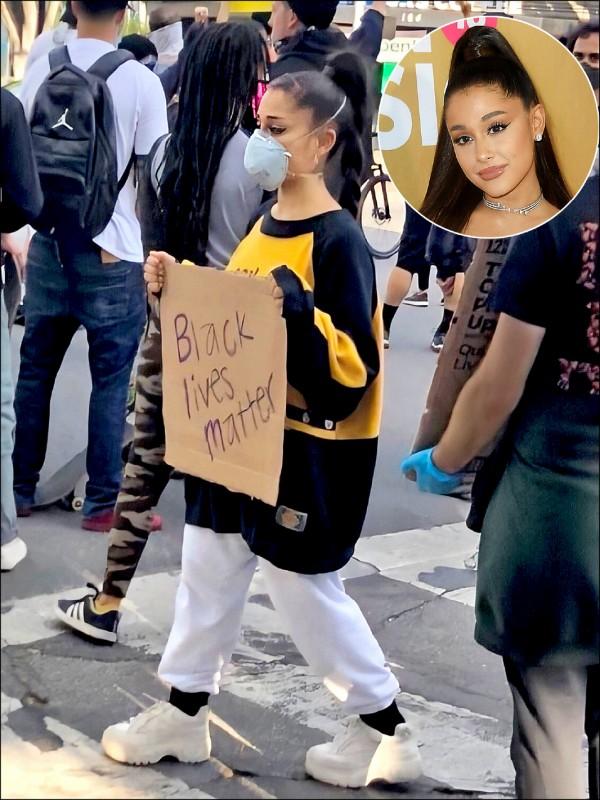 《抗議警察殺黑人》亞莉安娜上街舉牌    海爾希驚中橡膠子彈