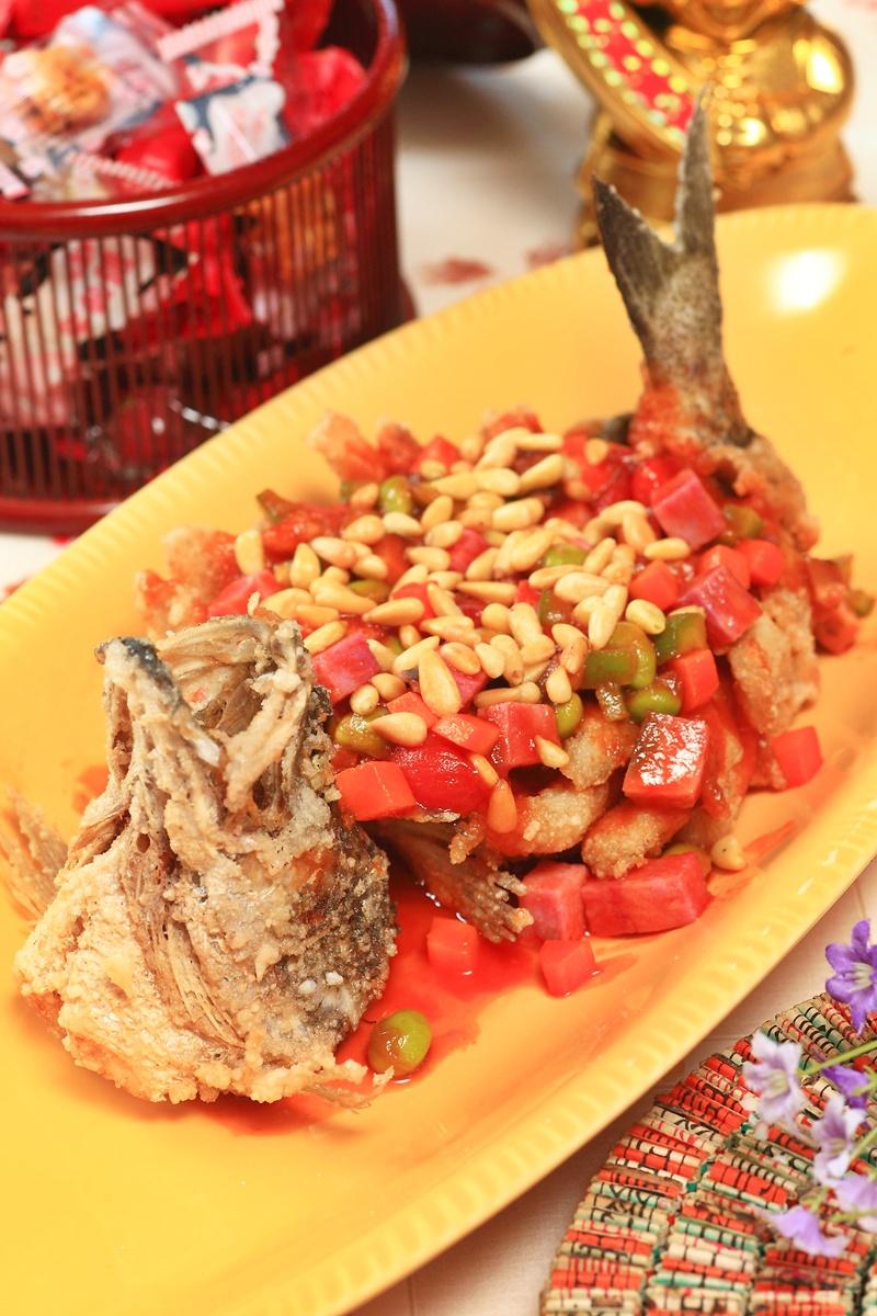 茄汁松子鱸魚